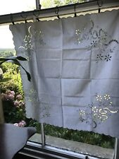 """Superb Chateau antique FRENCH white Linen CURTAIN DRAPERY Or Tablecloth 29""""/29"""""""