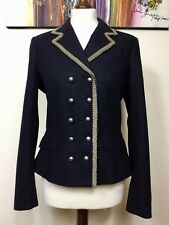 KEW JIGSAW NAVY BLUE WOOL MIX MILITARY STYLE DOUBLE BREASTED JACKET SIZE M