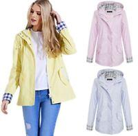 Womens Ladies Shower Proof Contrast Check Girls Rain Mac Pastel Jacket Coat