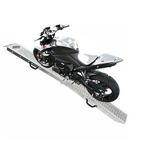 Motorbike Ramp Steel Motorcycle Van Loading Lawn Mower Heavy Duty Single Bike