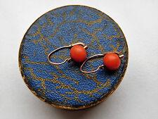 Antico grazioso Orecchini di corallo, rosso oro 333/8k, Antique coral earrings