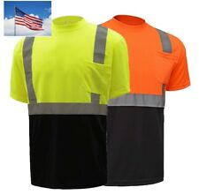 Hi Vis T Shirt ANSI Class 2 Reflective Safety Lime Orange Short Sleeve Road 8054