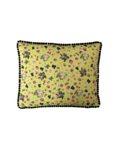 """17""""x14 Vintage style Yellow Floral Black pompom trim scatter cushion covers sham"""