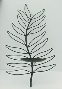Simple Elegant Black Sculpture Wire Metal Leaf Shaped Wall Candle Sconce