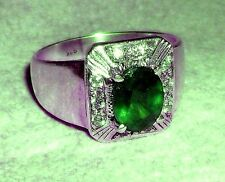 New Design  925 Sterling Silver Genuine Fine Emerald & White Topaz Ring
