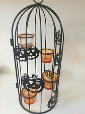 Halloween Metal Owl Bird Cage Candle Holder Table Decoration Decor Black Orange