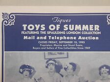 'Tiques Toys of Summer auction catalog! Spaulding London Collection! RARE!