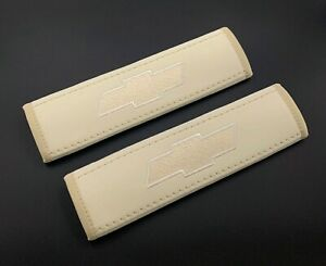 Chevrolet Beige seat belt covers pads with embroidery 2PCS