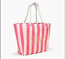 Victoria's Secret Pink White Stripe Large Beach Weekender Canvas Tote Bag NEW