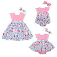 USStock Summer Baby Girl Kids Outfit Set Floral Princess Dress Lace Romper Skirt