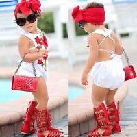 Newborn Infant Baby Girl Romper Flower Bodysuit Jumpsuit Sunsuit Clothes Outfits