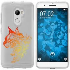 Case für HTC One X10 Silikon-Hülle Floral Katze M2-2 + 2 Schutzfolien