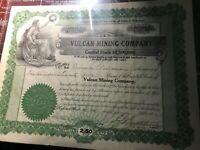 * 1912 Vulcan Mining Company Stock Certificate Michigan Copper