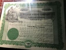 * 1912 Vulcan Mining Company Stock Certificate Michigan Copper