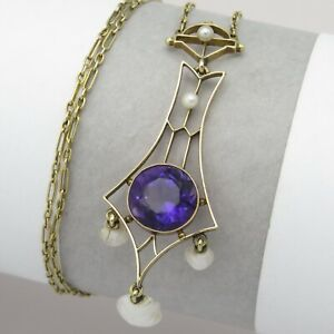 Antique Victorian 14K Gold Siberian Amethyst Pearl Lavaliere Pendant Necklace