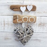 SHABBY NAUTICAL CHIC DRIFTWOOD WC THE LOO BATHROOM TOILET HEART DOOR SIGN PLAQUE