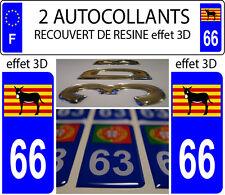 2 stickers plaque immatriculation auto DOMING 3D RESINE Ane Catalan Burro DEP 66