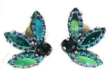 SoHo® Ohrclips vintage handgemachte Glassteine 1960er Jahre seegrün emerald