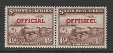 South West Africa 1951 1½d pair with Transposed overprints SG O25a Mint.