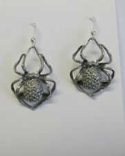 Pewter Spider Earrings with STERLING SILVER Ear Wires - Gothic Goth