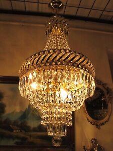 Antique Vnt. French Basket style swarovski Crystal Chandelier Lamp Light 1960's.