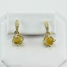 JUDITH RIPKA CITRINE  0.10 CT. DIAMOND DANGLE PUSH BACK EARRINGS 18K YELLOW GOLD
