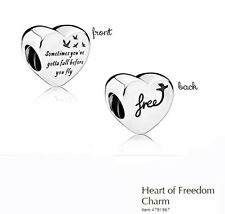 PANDORA Charm Sterling Silver ALE S925 HEART OF FREEDOM 791967 rrp $49