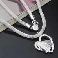 925 Sterling Silver Double Heart Pendant Necklace Chain Women Jewellery Silver