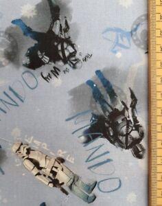 Mando fabric UK 100% cotton material metres Star Wars Mandalorian adventures