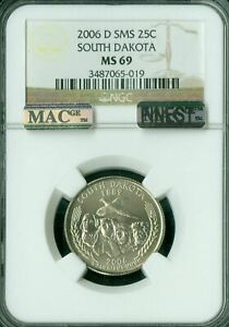 2006-D SOUTH DAKOTA QUARTER NGC MS69 SMS MAC FINEST REGISTRY MAC SPOTLESS  *