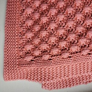 New Cozy Hand Knitted Afghan Lap Blanket Throw Pink Cotton 51 x 64