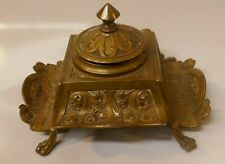 Antique 1880/90's German Bronze Art Nouveau Inkwell With Bakelite Liner