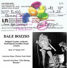 DALE BOZZIO   FILM STAR ACTRESS SINGER HAND SIGNED BANK CHEQUE - 1983  RARE ITEM