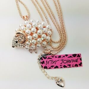 """Betsey Johnson Pearl Sheep Necklace Crystal Rhinestones Rose Gold Chain 29"""""""