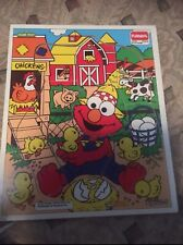 Wooden Vintage baby Puzzle Playskool Frame Tray Sesame Street Elmo Farm farmer