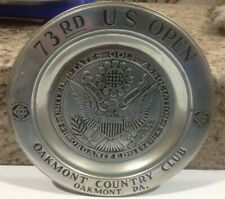 1973 U.S. Open Golf Championship at Oakmont  Souvenir Pewter 11 inch Plate