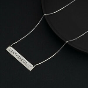 Roman Numeral Bar Necklace - Any Date Pendant - Custom Engraved Bar Necklace