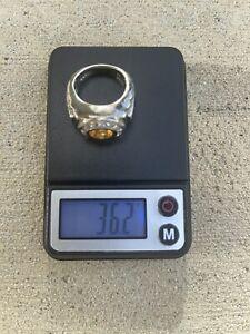 Heavy Men's Platinum Bezel Set Oval Garnet Center W/ Channel Set Diamond Ring