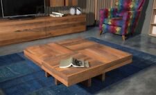 Walnut Solid Coffee Table 100x100cm Expandable Double-Size with Turquois Parts