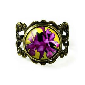 Iris Flowers Vintage Handmade Filigree Ring