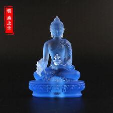Tibetan Buddhism Hand made liuli colored glaze statue Medicine Buddha Blue A45