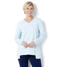 7ac7c66c82689 H by Halston French Terry Zip V Neck Long Sleeve Top Heather Arctic Blue XS