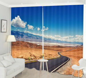 Blue Sky Cloud Mountain Road Highway 3D Window Curtain Blockout Drapes Fabric