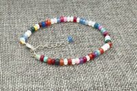 Hot 2x4MM faceted Multicolor jade Roundel Gemstone Bracelet 7.5""