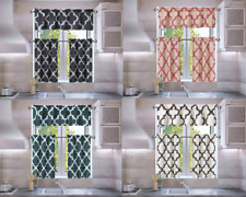 3PC SET FAUX SILK SMALL KITCHEN WINDOW CURTAIN GEOMETRIC PRINTED LINED BLACKOUT