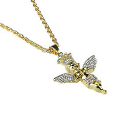 Hip Hop Necklace Men Women Gold Rhinestone Baby Angel Pendant Long Chain Gift