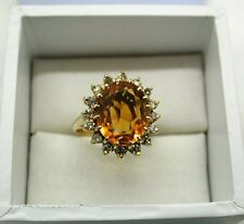 Gorgeous vintage Heavy 18ct Gold Large Citrine And Diamond Dress Ring