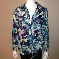 Liz Claiborne Blouse Size M Medium Womens Blue Top Button Down Shirt Long Sleeve