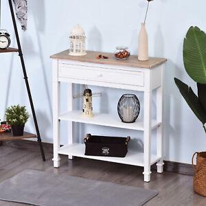 HOMCOM White Console Side Table Hallway Desk w/ Drawer 2 Shelves Worktop Retro