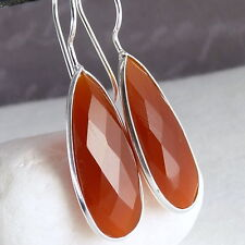 Contemporary Drop HOOK Gem Earrings SilverSari Solid 925 Silver CARNELIAN EG1007